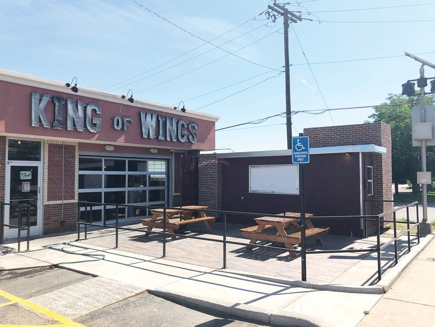 The new King of Wings restaurant in Wheat Ridge. The kitchen is located inside the shipping container next to the main building.