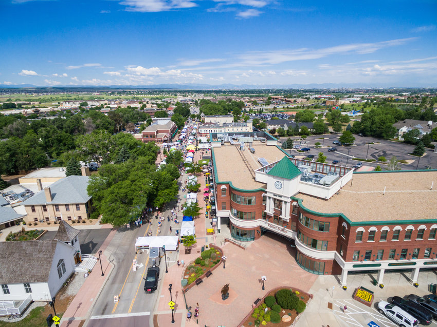 An aerial view of the farmers market on Mainstreet in Parker, June 28, 2015.