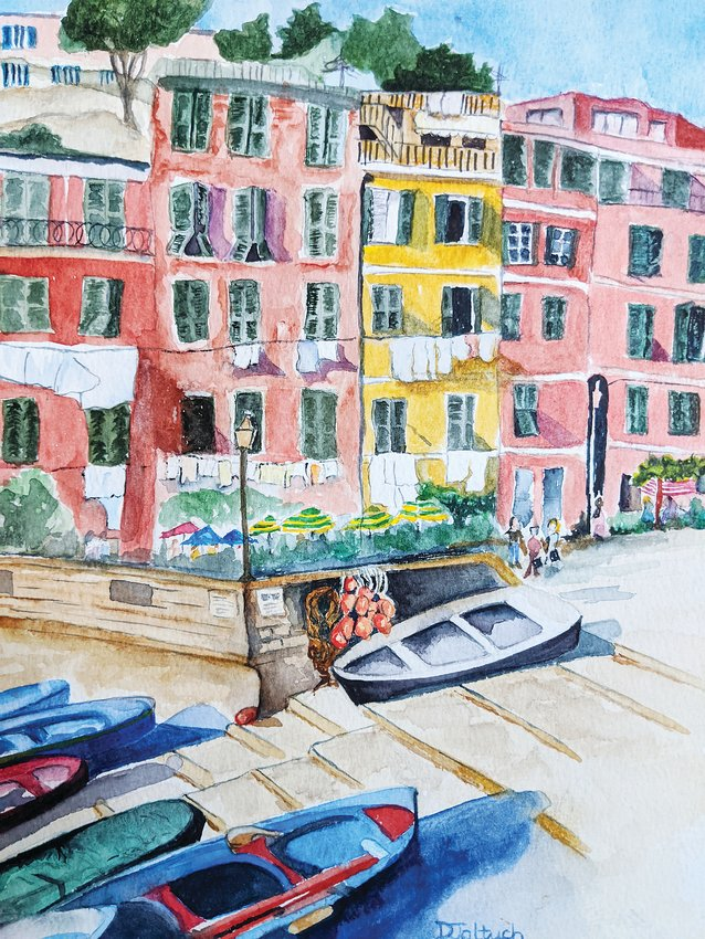 "Dorothy Jaltuch's watercolor ""Vernazza, Cinque Terre, Italie"" is part of the 18th annual Kaleidoscope exhibit at Arapahoe Community College."