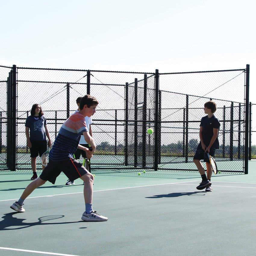 Incoming freshmen were able to practice on the DRHS tennis courts July 15.