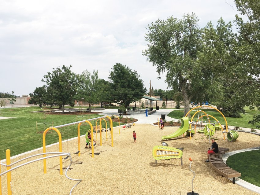 The Lasley Park playground at 6677 W. Florida Ave. in Lakewood. The park also features a games court with ping pong, cornhole and chess.