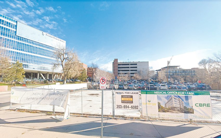 A November 2018 view of the parcel at 506 E. Hampden Ave., across the street from Swedish Medical Center, the future site of the Synergy Medical Office Building, a five-story, mixed use development. The complex is now under construction.