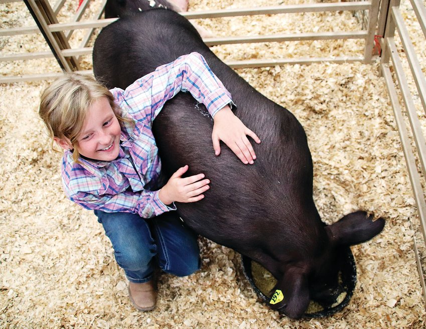 Charli Surry, 9, sits with her pig Jelly Belly Bean at the Friday, July 31 Douglas County livestock sale before the event began. The pig sold for $1,900.