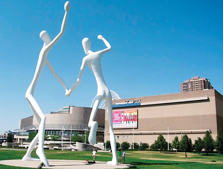 "Sculpture Park, at the Denver Performing Arts Complex, includes ""The Dancers,"" two 50-foot-high sculptures located at Speer and Champa."