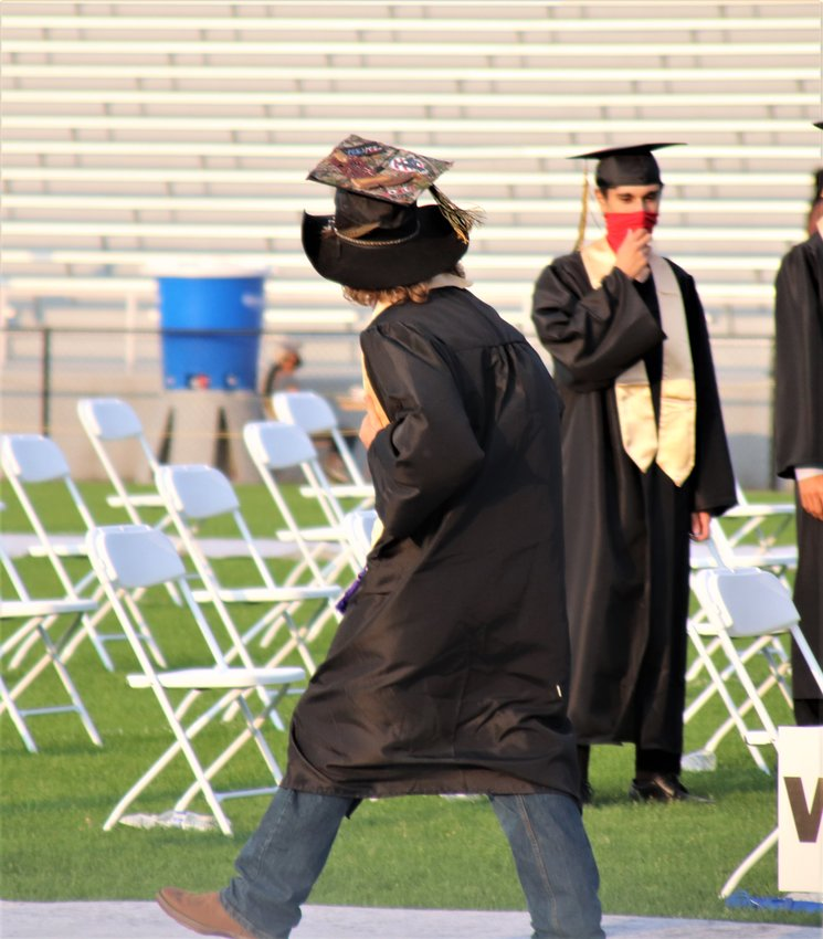 One Green Mountain graduate attached his graduation cap to a cowboy hat.