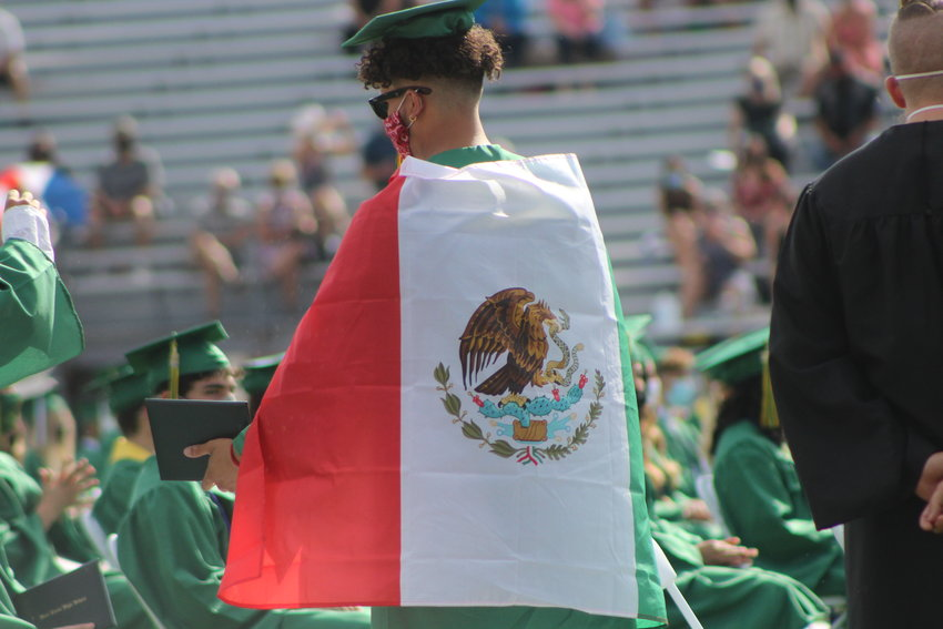 A Bear Creek High School graduate showed up to the graduation with a Mexico flag on his shoulders.