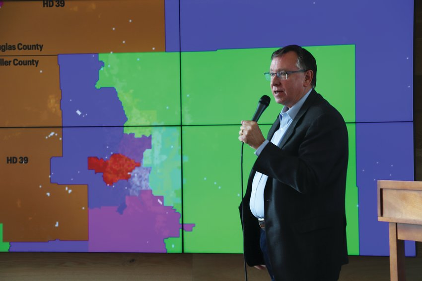 State Rep. Mark Baisley (R-Roxborough Park) introduced his district to some of his fellow legislators during an August 6 Colorado Competitive Council event at Sterling Ranch.