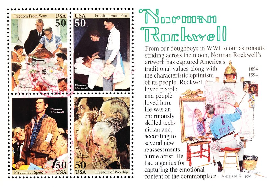 "Norman Rockwell's iconic ""Four Freedoms"" series was featured on a U.S. stamp issue in the 1990s."