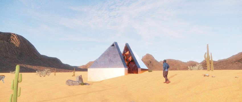 """Occhiolism,"" the winning entry in the Museum of Outdoor Arts Design and Build Competition, is proposed as a home in the Sonoran Desert of southwestern Arizona."