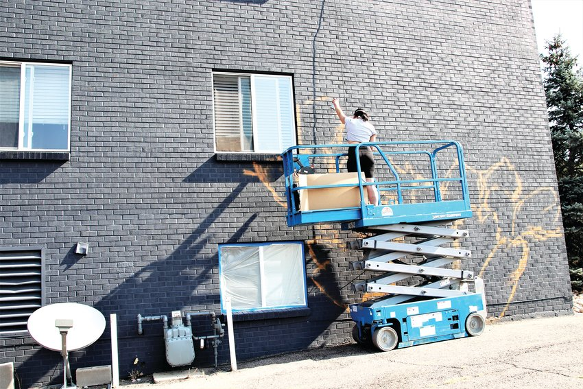 Artist Ashley Joon sketches the outlines for flowers on the south-facing wall of 7155 Hooker St. in Westminster Aug. 13. She's one of 28 artists expected in the area decorating building walls.