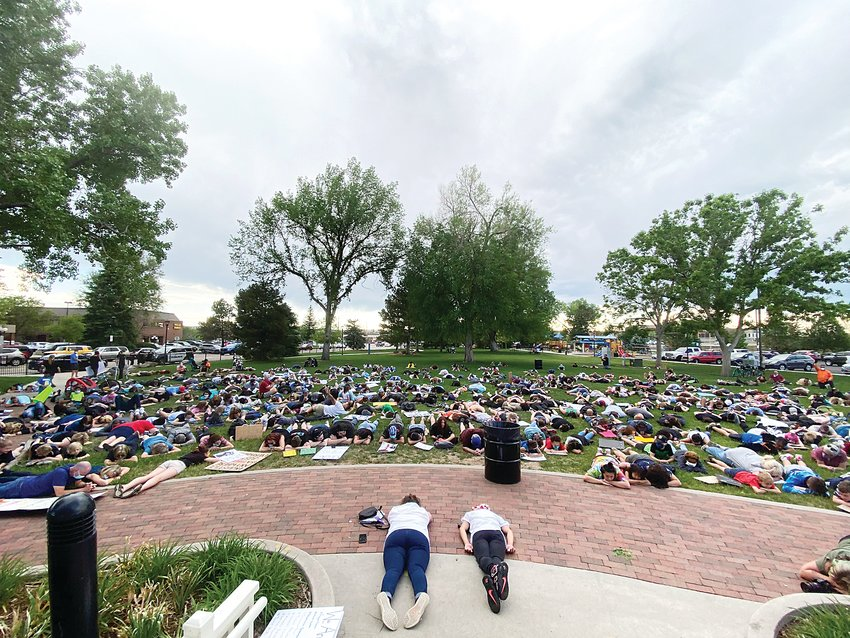 A crowd of about 200 gathered in O'Brien Park in Parker on June 4 for a demonstration protesting the death of George Floyd and racial injustice in America. The protesters lay down for eight minutes and 46 seconds, the length of time Floyd was pinned down by his neck while in Minneapolis police custody.