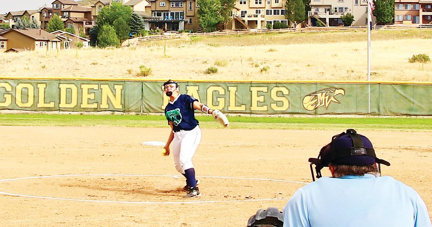 ThunderRidge starting pitcher Alyssa Hunter offers a first inning pitch during the Aug. 19 game at Mountain Vista against the rival Golden Eagles. Hunter had two hits during the game including a two-run homer but Mountain Vista scored once in the bottom of the seventh to pull out an 8-7 win.