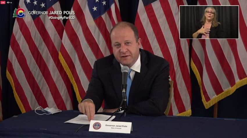 Gov. Jared Polis at an Aug. 21 news conference offers an update on the state's response to the coronavirus pandemic and other state issues.