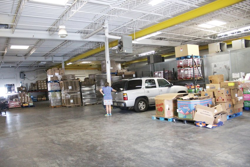 The Food Exchange Resource Network's warehouse covers 15,000 square feet and serves as a major food distribution center.