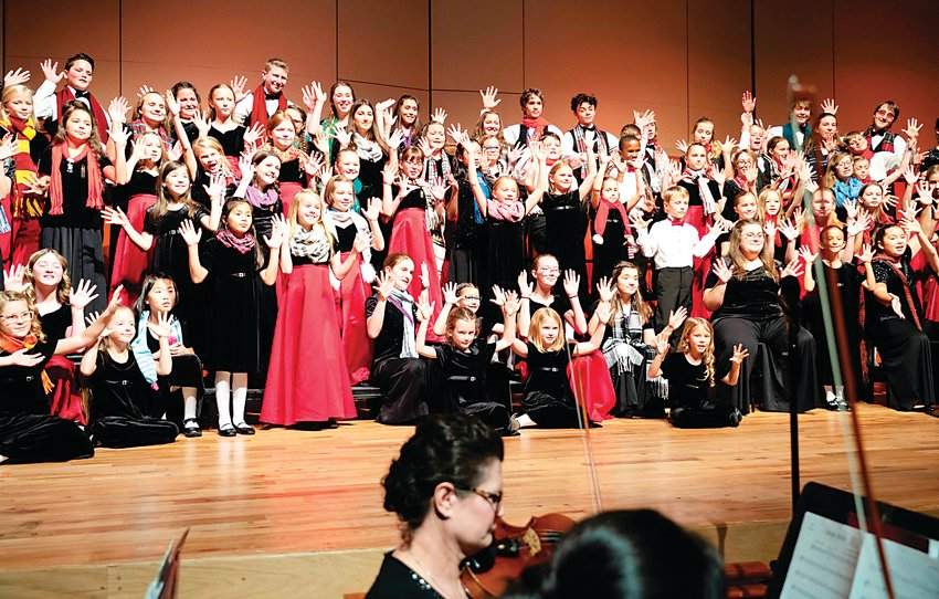 Young Voices of Colorado performs its 2019 winter concert at the Newman Center for the Performing Arts. The choir will hold a virtual fundraising gala on Oct. 3, though in-person performances are unlikely to occur before 2021.