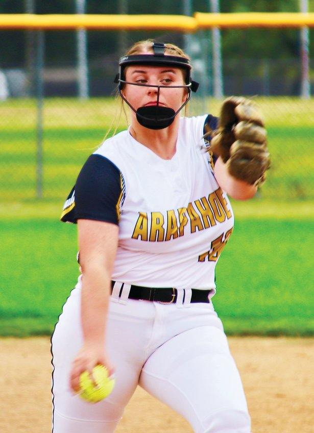 Arapahoe junior pitcher Shayna Groosman allowed only five hits but was saddled with a 7-0 loss to Cherry Creek in an Aug. 24 Centennial League softball game played at Arapahoe.
