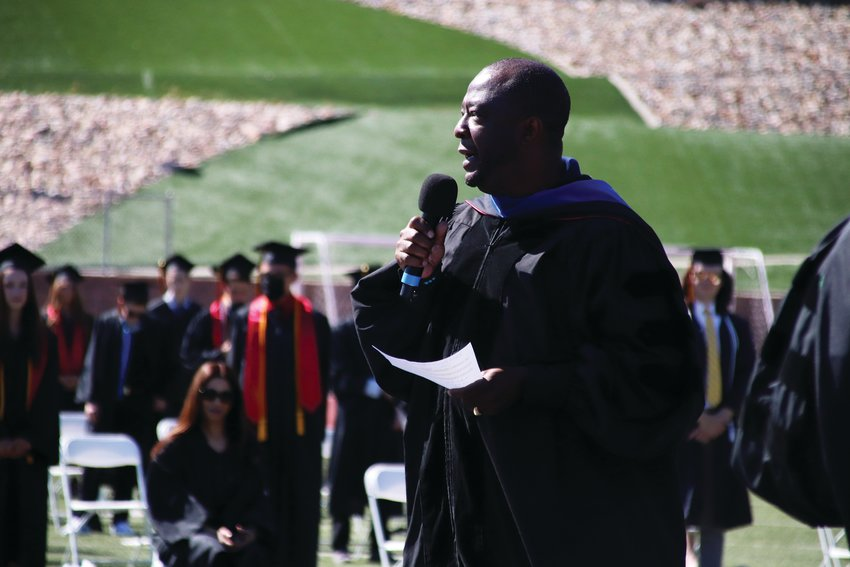 Superintendent Thomas Tucker speaks to Douglas County students at a graduation ceremony June 26.