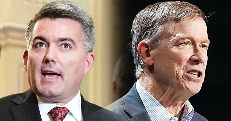 From left: Colorado's U.S. Sen. Cory Gardner and former Gov. John Hickenlooper.
