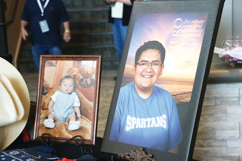 Some of Kendrick Castillo's favorite items, along with an assortment of photos, sat on a table outside of the sanctuary at Cherry Hills Community Church on May 15, 2019. Guests were invited to the church to celebrate the life of Castillo, who was killed in the school shooting at STEM School Highlands Ranch.