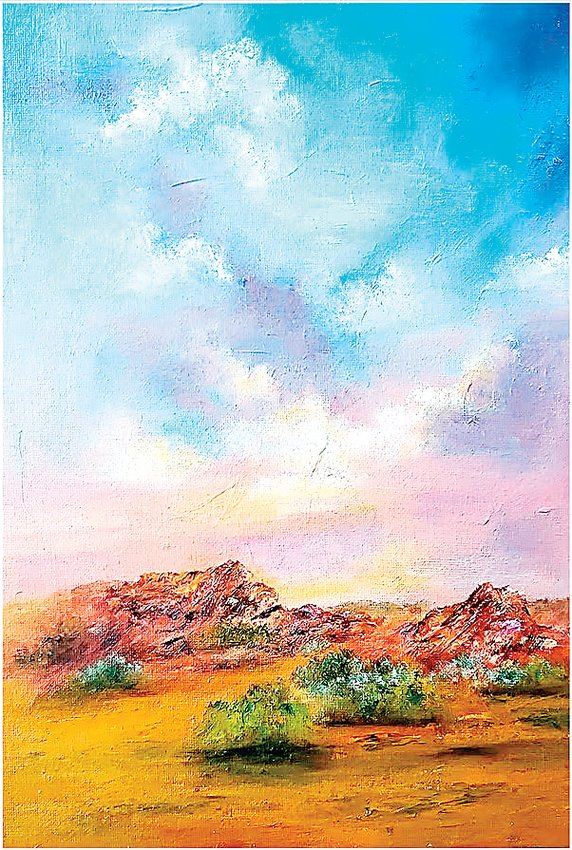 """South Valley Sky"" is an oil by Merrie Wicks, exhibited in the Littleton Fine Arts Guild's ""This is Colorado"" show at Town Hall Arts Center."