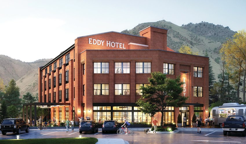 A rendering of the Eddy Hotel, which is being built on the site of the old Golden brickworks mill in Golden.