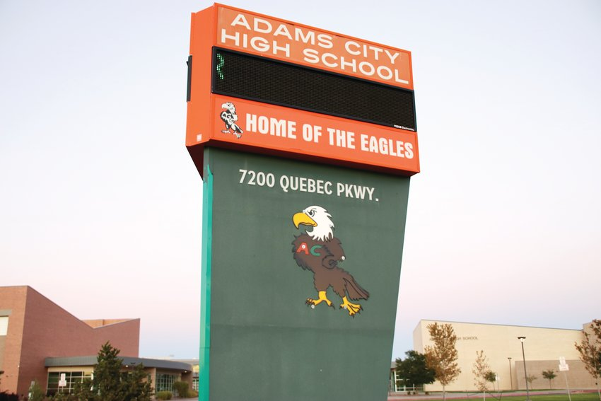 Adams City High School sits along North Quebec Parkway near East 72nd Avenue. The name Adams City is a relic of an area that is now part of Commerce City.