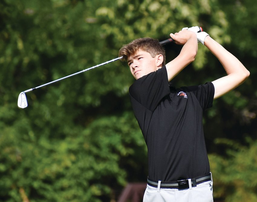 Lakewood junior Max Lange watches his drive on the par 4 No. 3 hole at West Woods Golf Club in Arvada on Sept. 14. Lange won his second straight Jeffco League tournament with a round of 67 before heading to the state-qualifying regional tournament this week.