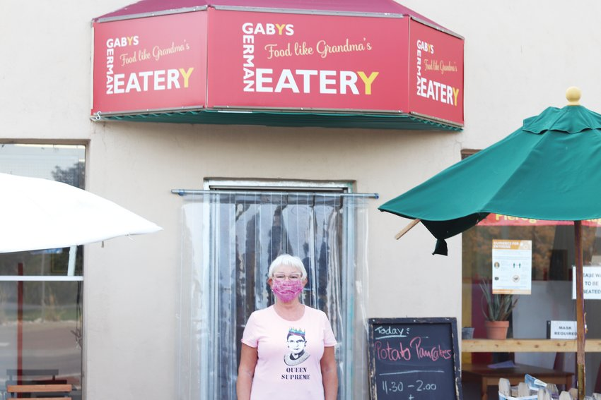 Gaby Berben stands outside her restaurant, Gaby's German Eatery, at 245 South Harlan Street in Lakewood.