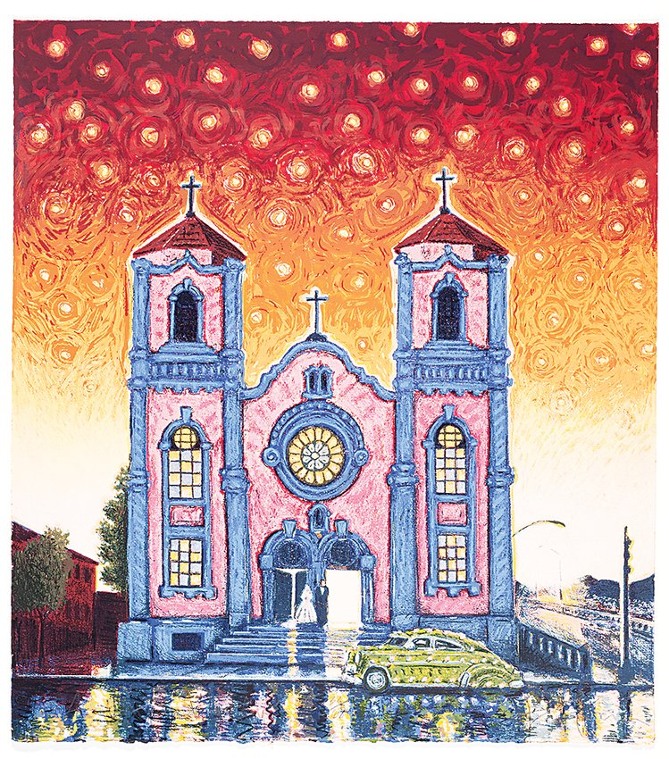 """Westside Wedding"" by Carlos Fresquez depicts St. Cajetan's Church, which was the first Hispanic parish in Denver and served the area's Spanish-speaking Catholic community from 1925 until 1973 when the Auraria campus was built."