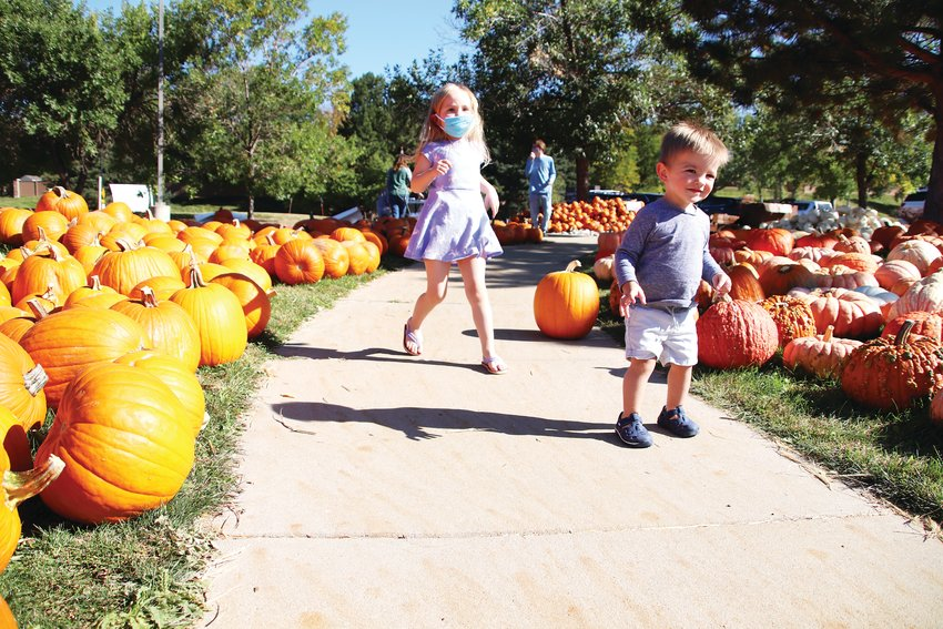 Willa Hiatt, 4, and her brother Elliot, 1, stopped by the patch with their mother, Katie. The family, Littleton residents, decided to pick out their pumpkin early this year.