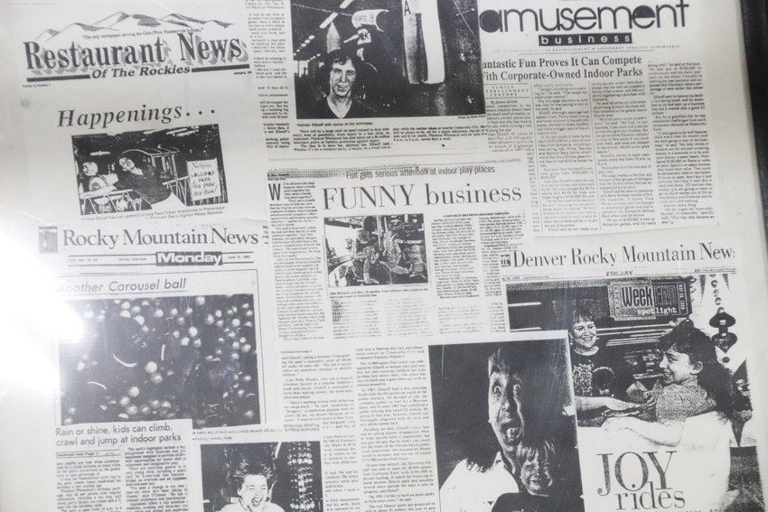 Newspaper articles featuring Nathan Elinoff's family-entertainment businesses sit in a display case at Lollipop Park. Nathan Elinoff and his wife Louise have been in the industry for 38 years. Along with Lollipop Park — near South Peoria Street and East Arapahoe Road, just outside Centennial's sidewinding city boundaries — the Elinoffs have run locations in Englewood.