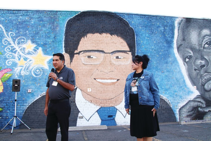 John and Maria Castillo speak at the unveiling of a mural of their son Kendrick. The mural, in downtown Denver near Coors Field, was unveiled Oct. 4.