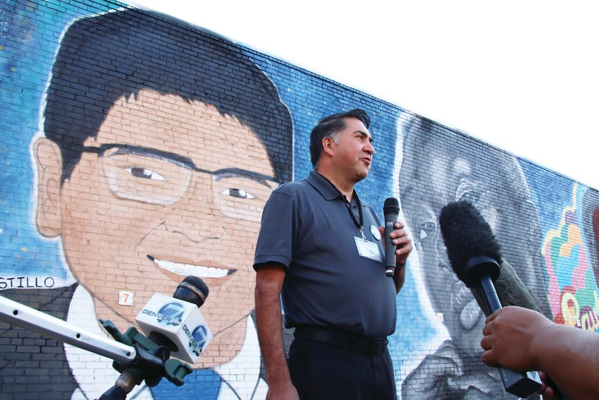 John Castillo speaks to reporters at the event Oct. 4 about his son Kendrick.