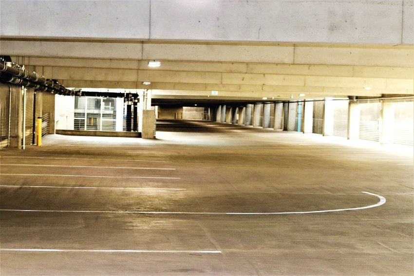 A view of the second level of the Olde Town transit hub parking garage in Arvada. The city recently removed signs stipulating whether users of public transit or other users could park in certain spots.