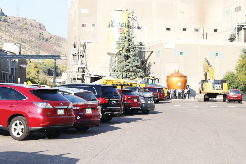 A view of the parking lot in front of Coors brewery plant where the plant expansion will be constructed.