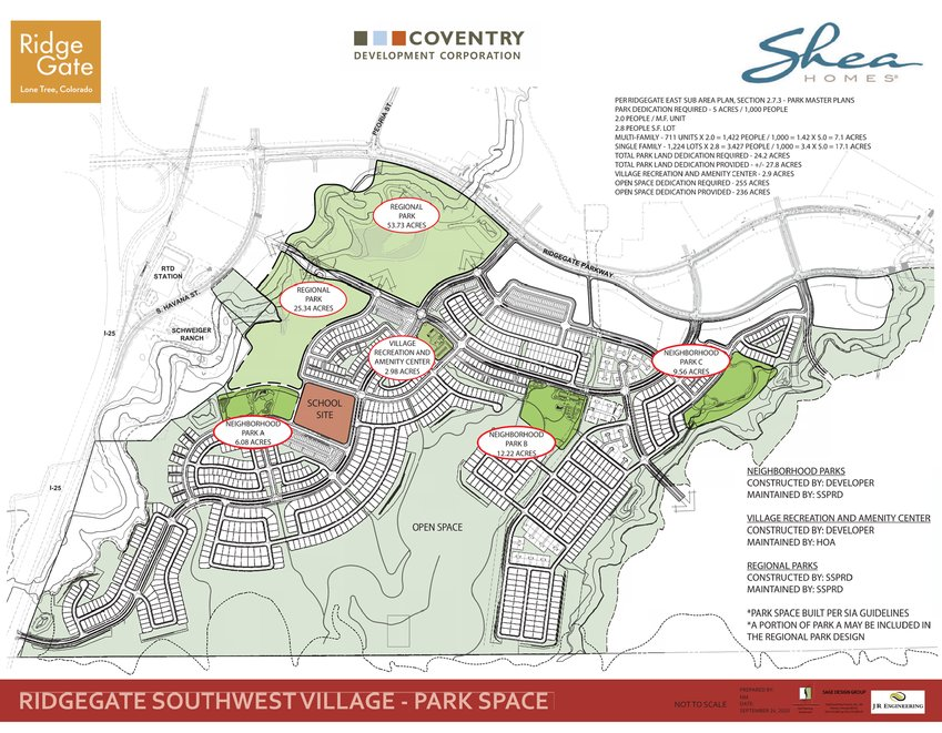 A map of the Southwest Village parks plan.