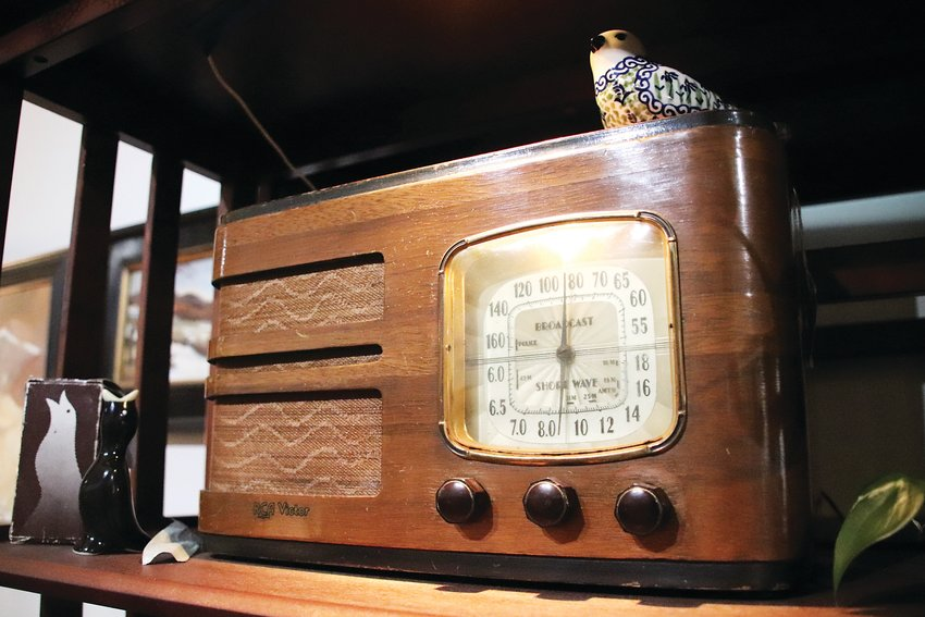 One of Bob Terrell's many antique radios. Carousel Emporium has a midcentury modern flair.