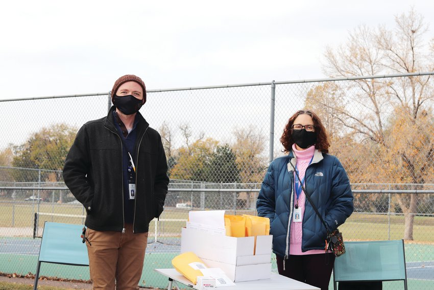 "Michael Miller, the opioids iniatives coordinator at JCPH and Pamela Gould, Jefferson County's Communities That Care coordinator, distributed ""Save A Life"" kits at O'Keefe Park in Lakewood on Oct. 25."