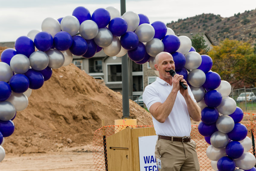Eric Stout, Associate Principal of Warren Tech South speaks at the school's groundbreaking.