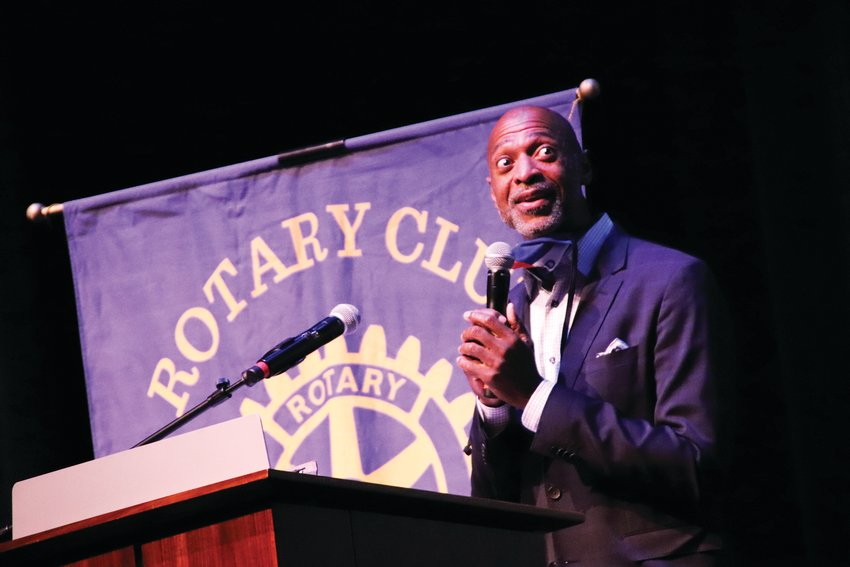 Sam Adams, a Parker resident, comedian and journalist, spoke at the annual Achievement Luncheon for the Cherry Creek Valley Rotary Club of Parker Oct. 28.