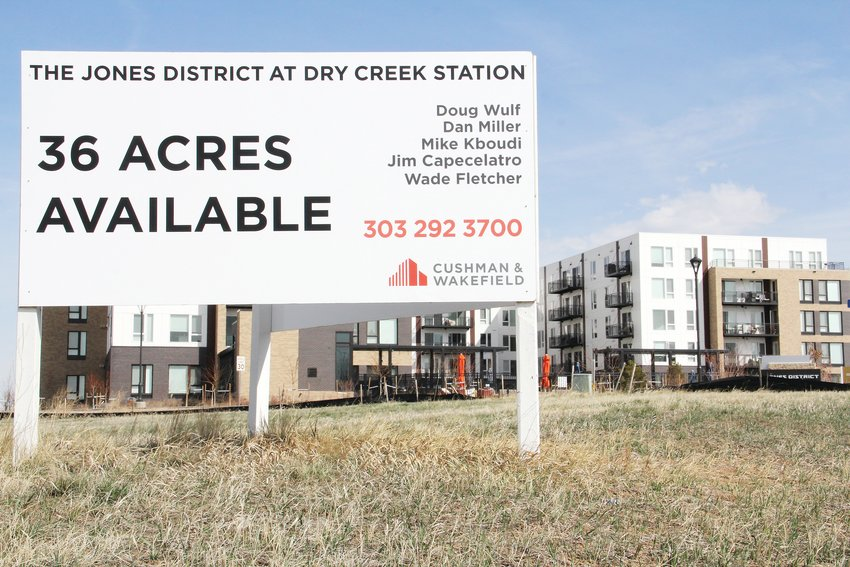 A real estate availability sign at The Jones District in March 2019, located near East Mineral Avenue along Interstate 25 in Centennial. Brue Baukol, the company that owns the developable land, intends to sell parcels, or pieces of land, to other developers or possibly develop the land itself over time.