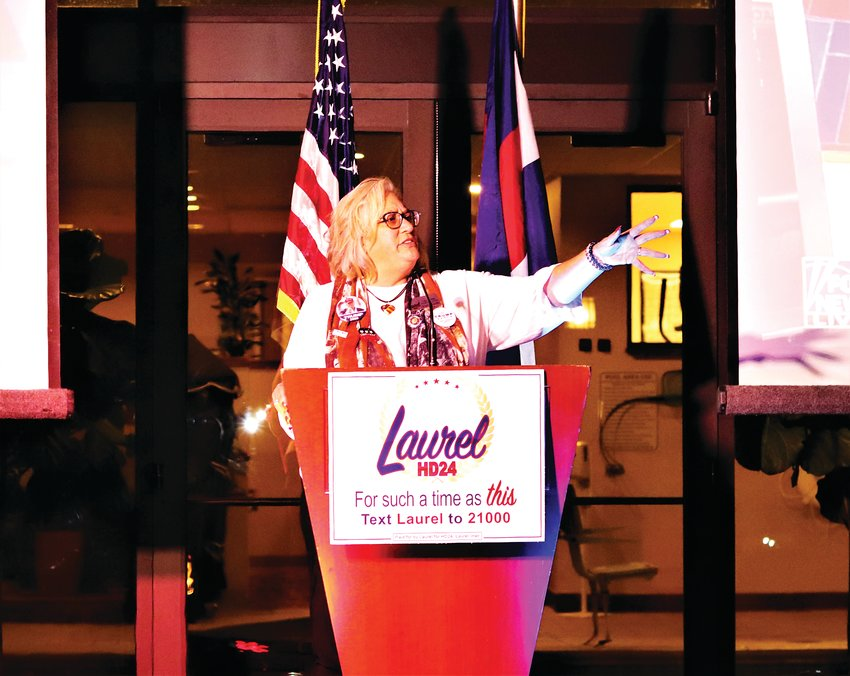 Laurel Imer speaks at a party for Republican candidates at the Denver Mariott West hotel in Golden.