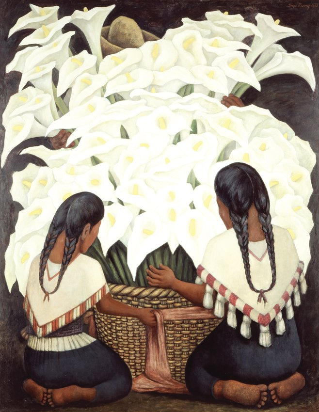 "Diego Rivera's ""Calla Lilly Vendor,"" painted in 1943, is part of an exhibit at the Denver Art Museum that requires timed tickets."