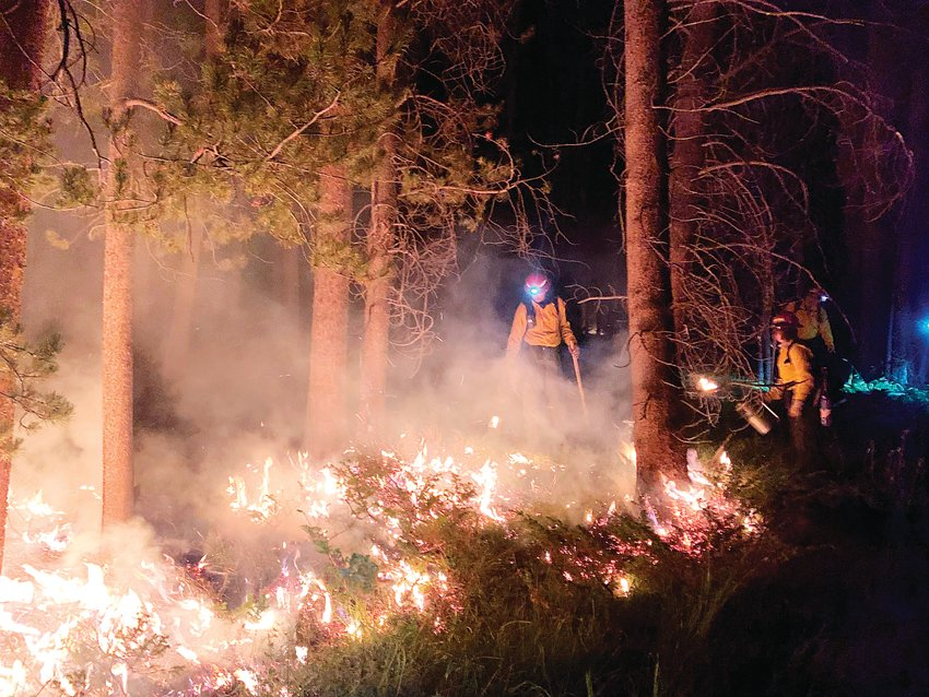 "West Metro firefighters on the scene of the Cameron Peak fire. West Metro's crew worked at night and employed a strategy of lighting a ""control line"" fire along a barrier ahead of the fire to consume the fuel for the forest fire before it could reach it to help gain control of the fire."