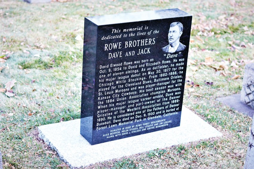 The Dave Rowe side of the Rowe brothers monument in the Golden Cemetery.