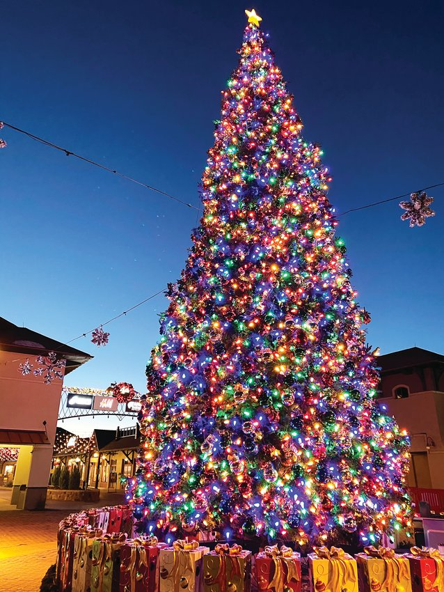 The Christmas tree at the Outlets at Castle Rock is 55 feet tall and sourced from California.