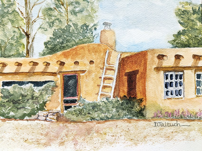 """Casa, Taos"" is a watercolor by Dorothy Jaltuch."
