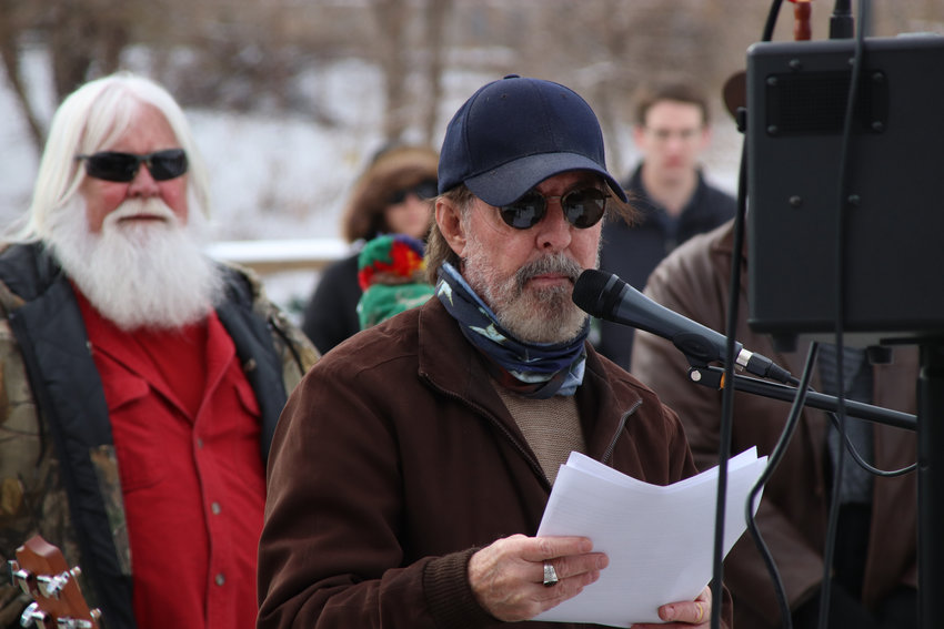Gary Godfrey leads a rally in downtown Castle Rock on Dec. 12 urging the reopning of town businesses.