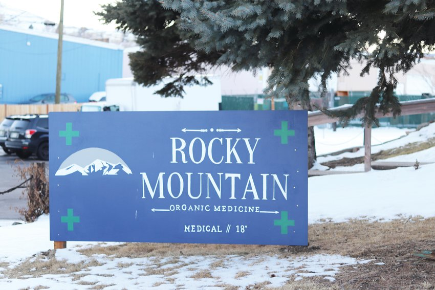 The sign for Rocky Mountain Organic Cannabis, Golden's only medical marijuana dispensary.