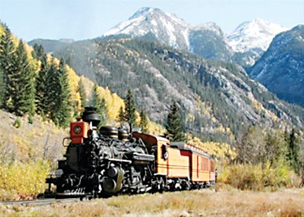 Cumbres and Toltec Narrow Gauge Railroad runs in the summers through spectacular scenery.